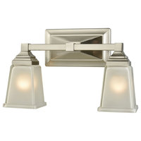 Sinclair 2-Light for the Bath, Brushed Nickel With Frosted Glass