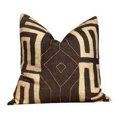 "20""x20"" African Bantu Pillow in Peppercorn, With Pillow Insert"