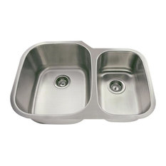 Offset Double Bowl Stainless Steel Sink, Wide Left, Sink Only