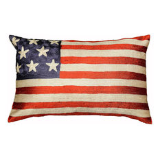 """American Flag Pillow Cover Hand Embroidered 13x21"""""""