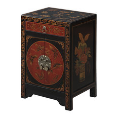 Lovely Convenience Concepts   Touch Of Asia 1 Drawer Cabinet End Table, Black/Red