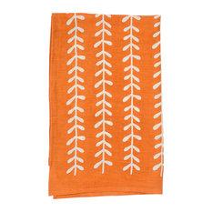 """Leaf Print Tea Towel, Set of 4, 20""""x30"""", Orange"""