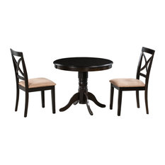 3-Piece 36-inch Brookline Round Dining Table And Chair Sets Cappuccino Microfiber