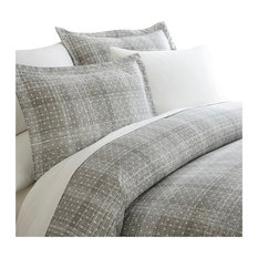 Home Collection Premium 3-Piece Polka Dot Printed Duvet Cover Set, Twin, Gray