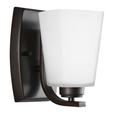 Waseca 100W 1-Light Wall Sconce, Burnt Sienna, Etched/White Glass