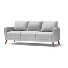 Derna Upholstered Sofa, Light Gray