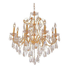 Elegant St. Francis Dining Room Light, Gold Finish With Royal Cut Crystal