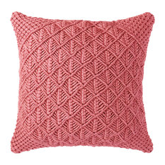 """Company C Clove Hand-Woven Outdoor Pillow, 22"""", Coral"""