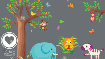 Nursery wall decal -Baby room decal Jungle Animal REUSABLE-FABRIC Vinyl with Tre