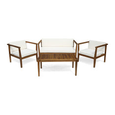 GDF Studio Maddox Outdoor 4-Seater Acacia Wood Chat Set With Coffee Table, Teak