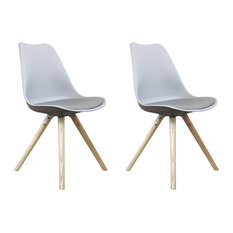 Scandi Style Dining Side Chair, Pyramid Beech Wood Legs, Dove Grey, Set of 2