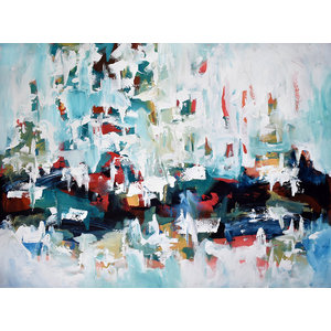 Large Modern Textured Abstract Canvas Painting by Omar Obaid, 122 x 90 cm