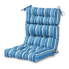 Outdoor High Back Chair Cushion, Sapphire Stripe