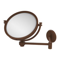 "8"" Wall Mounted Extending Make-Up Mirror 2X Magnification With Groovy Accent"