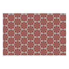 Modern European Design Rug, 2'x3', Red and White