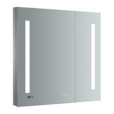 "Tiempo Bathroom Medicine Cabinet With LED Lighting and Defogger, 30""x30"""