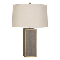 Anna 1-Light Table Lamp Shagreen/Aged Brass Pearl Dupioni