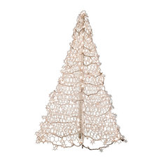 5' White Wire Crab Pot Tree With 350 Clear Mini Lights