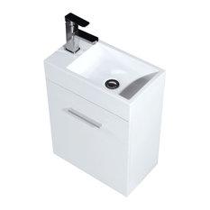 Bliss 18? Wall Mount Modern Bathroom Vanity - KubeBath High Gloss White 18-inch B