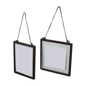 Glass Photo Frames With Metal Trim and Jute Hanger, Set of 2