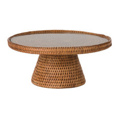 La Jolla Rattan Cake stand With Glass Top, Honey Brown