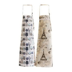 2 Pack Nordic Cotton Aprons Oil-proof Kitchen Aprons Home Gowns, Bottles + Tower
