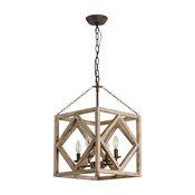 4-Light Rectangular Wood Candle Chandelier, Weathered Wood