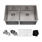 "33"" Undermount Stainless Steel Kitchen Sink, Double 40/60 Bowl 16 Gauge"