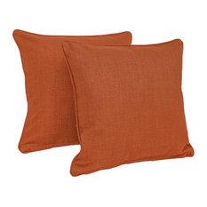 "18"" Outdoor Spun Polyester Square Throw Pillows, Set of 2, Cinnamon"