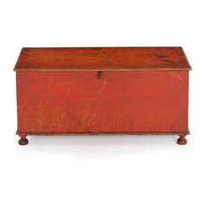Consigned Small American Red-Painted Antique Blanket Chest, 19th Century