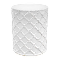 White Ceramic Drum Table | Eichholtz Healey White 15-inchW X 15-inchD X 18-inchH