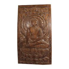 Consigned Antique Buda Wall Art Home Decoration Barn Door Panel Meditating
