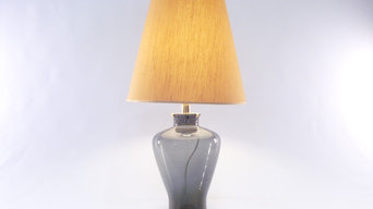 "Murano Glass Table Lamp ""Shades of Grey"" and gold foil – Made in Italy"