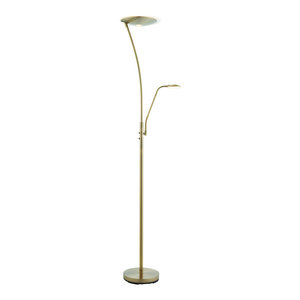 Alassio Mother and Child Task Floor Lamp, 18 W and 6 W, Antique Brass