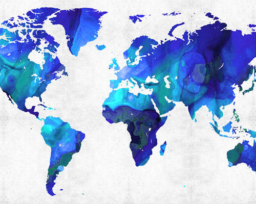 Maps - World and US Maps Large Colorful Unique Wall Art From ...