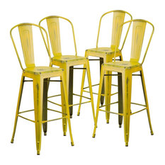 30-inch High Distressed Yellow Metal Indoor Barstools With Back Set Of 4