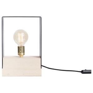 London Wood and Iron Table Lamp, Natural Wood