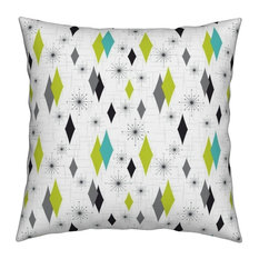 Diamond 50S Retro Starburst Mid Century Modern Throw Pillow Organic Sateen