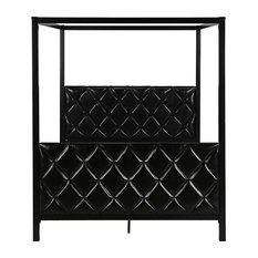 Fast Furnishings - Queen Size Metal Canopy Bed Frame With Faux Leather, Black - Canopy Beds