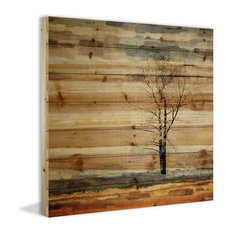 """""""Tree Stands Alone"""" Print on Natural Pine Wood, 32""""x32"""""""