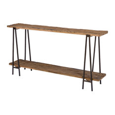 Bartlett Rustic Lodge Wood Metal Rectangle Console Table Tables