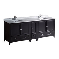 "Oxford 83""-84"" Double Bathroom Cabinet, Espresso, With Top and Sinks"