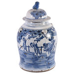 Legends of Asia - Vintage Temple Jar Flower Bird Motif - Large - Do you like vintage asian decor? If so, then you'll love our flower bird motif temple jars. These unique handcraftied pieces are painted with a blue pattern that comes with a lid.