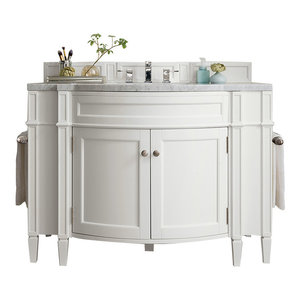 """Brittany 46"""" Single Vanity Cottage White, 3 cm Carrara Marble Top"""