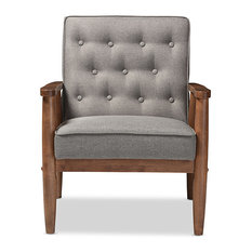 Sorrento Retro Upholstered Wooden Lounge Chair, Gray Fabric