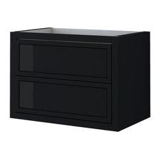 Baden Haus Retro Collection 29.1-inch Single Vanity In Matte Black W/ Black Glass