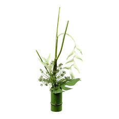 Heliconia Artificial Plant in Bamboo-Style Pot, White