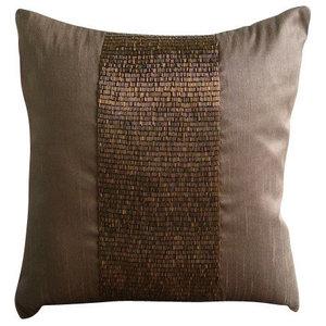 Metallic Beads 50x50 Art Silk Dark Brown Decorative Cushion Cover, Center Stage
