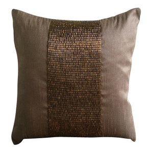 Metallic Beads Dark Brown Euro Pillowcase, Art Silk 65x65, Center Stage