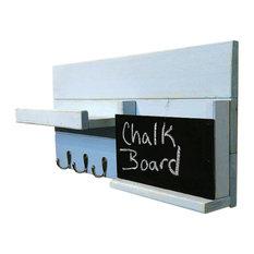 Mail Organizer With Chalkboard Bin, 3-Key Hook, Avocado Green, White
